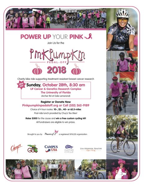 Power up your pink; Join us for the Pink Pumpkin Pedal Off 2018 UF Cancer & Genetics Research Complex; The University of Florida; (Archer Rd and Gale Lemerand); Register or Donate Now: pink pumpkin pedal off dot com; or call (352) 262-9189; Choice of four tour routes: 10-, 22-, 40-, or 62.5-miles; Post-ride lunch provided by Chuy's Tex Mex; Raise $500 for the cause and win a free custom cycling kit; All fundraisers are eligible to win prizes. Brought to you by Power of 2 a registered 501c3 organization;