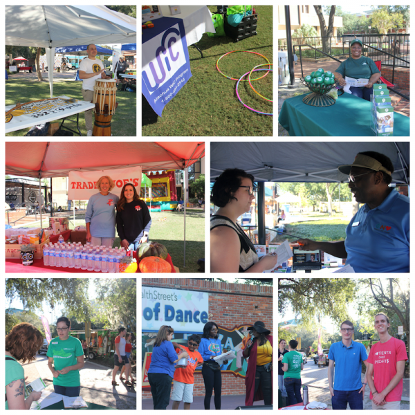 This collage shows some of the exhibitors at UF HealthStreet's Night of Dance 2018, plus a raffle drawing taking place on stage. Pictured is Allied Capoeira League Gainesville, Department of Health's Women, Infant and Children program, National Alliance on Mental Illness Gainesville, ElderCare of Alachua County, Trader Joe's, Right Care Alliance Gainesville, Meridian Behavioral Healthcare, Inc.
