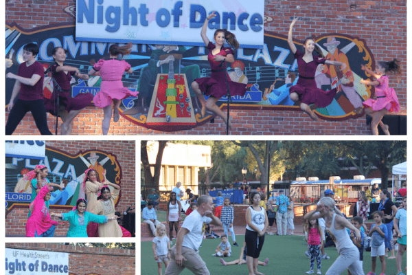 Pictured in this collage are performers from the 2018 Night of Dance including, Next Generation from Pofahl Dance Studio, Allied Capoeira League Gainesville, Manisha Ranade's classical Indian dance group, Extreme Dance Company at UF