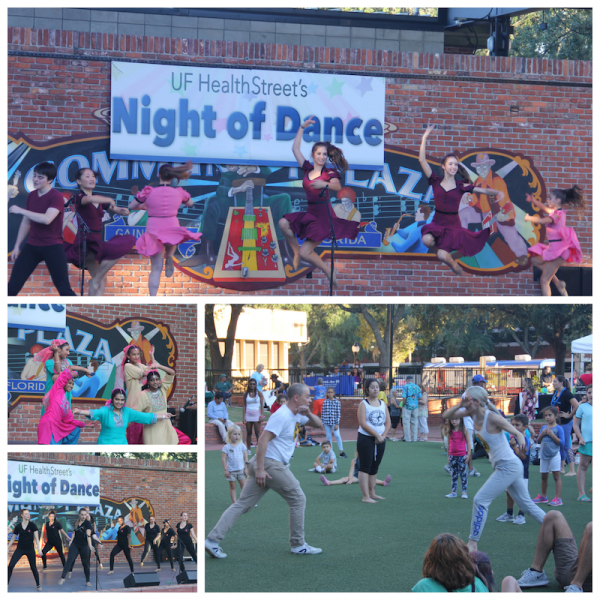 Collage showing 4 local groups performing at Night of Dance